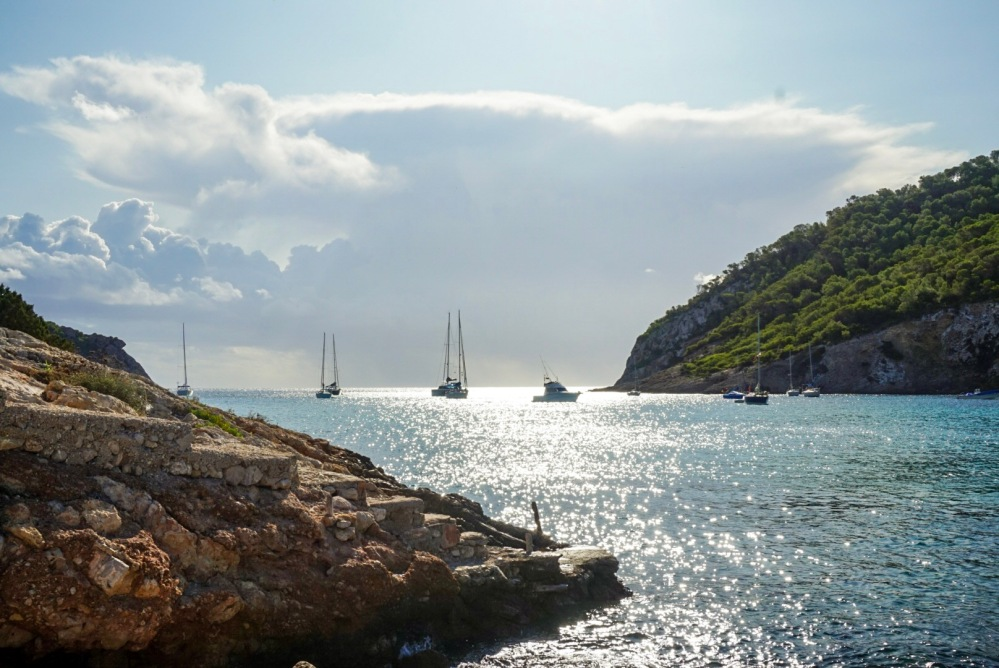 Yachts on the Cala Long Bay