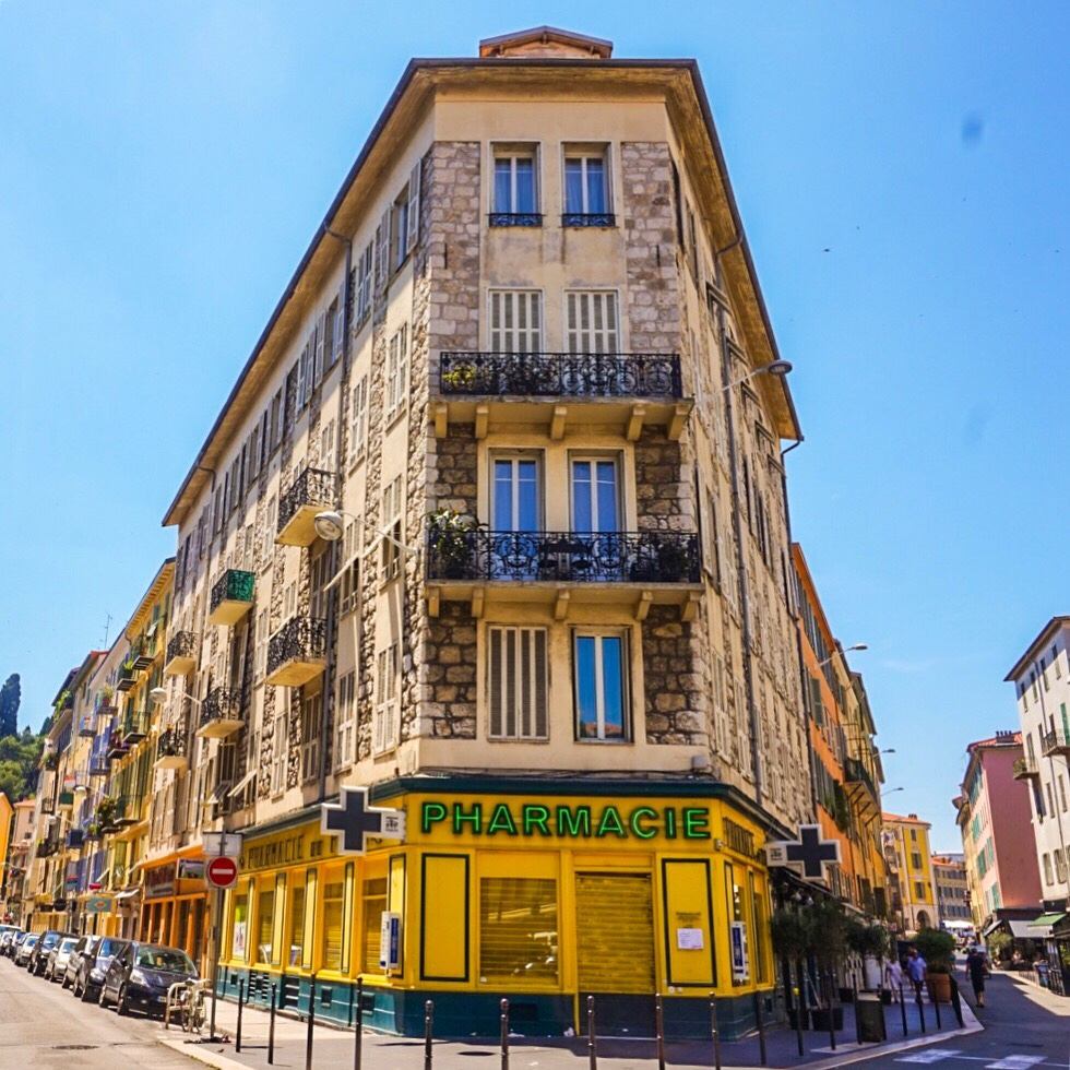 Yellow pharmacy, Nice, France