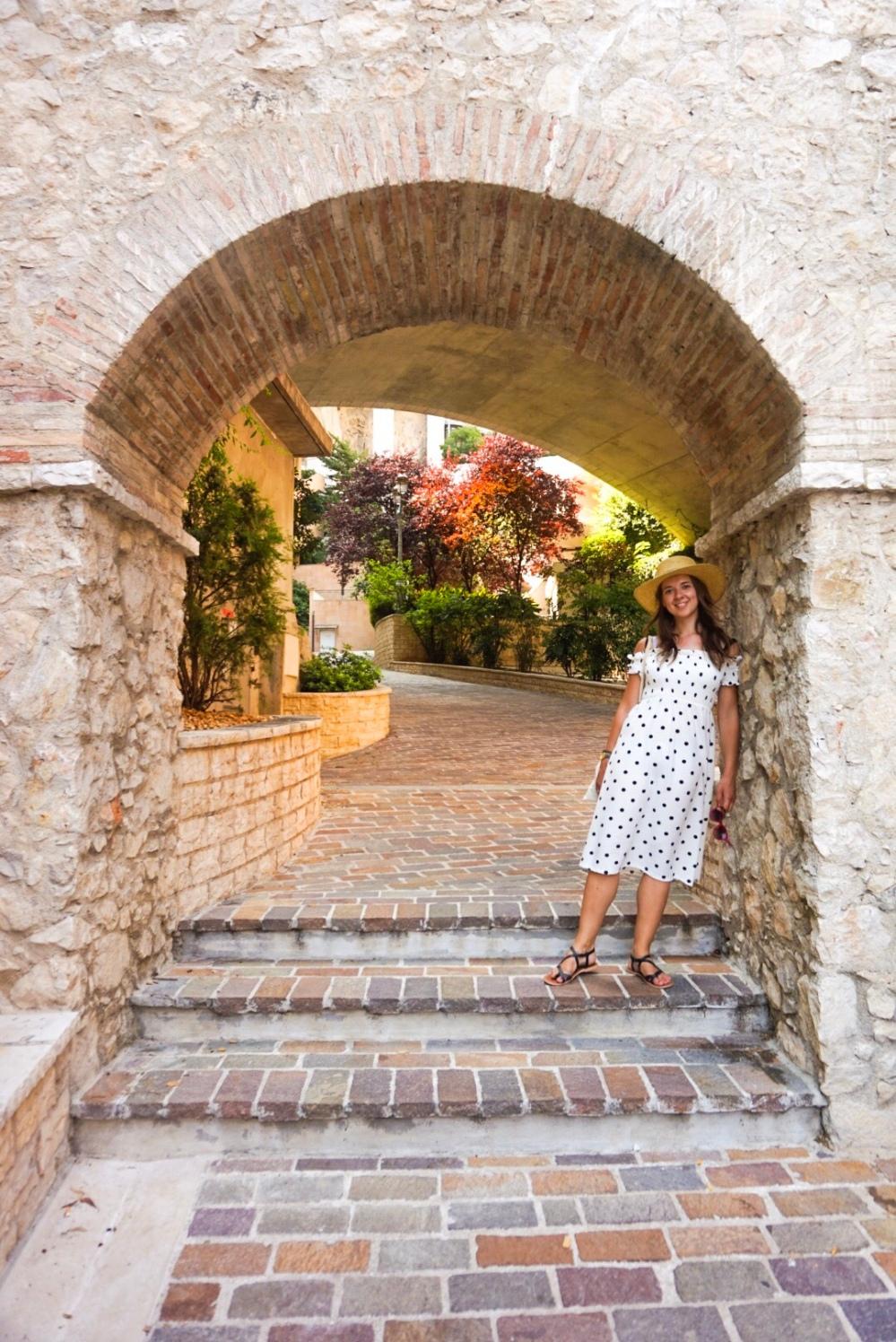 Brick archway, Monaco, France.